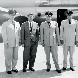 Silverstein with military visitors.