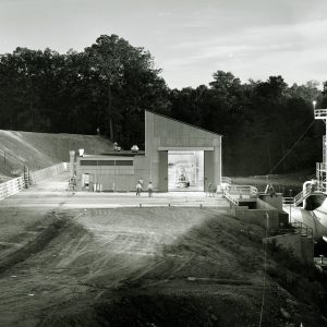 Exterior view of the Rocket Engine Test Facility in the evening on September 12, 1957.