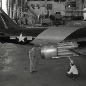 B-57B in hangar with ejector on engine.