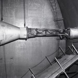 Mercury capsule with escape tower in Altitude Wind Tunnel