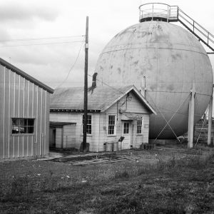 Exterior of round J-5 test chamber with shop next to it
