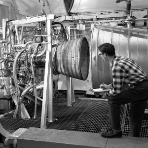 Pratt & Whitney RL-10 rocket engine in a PSL test chamber on 13 November 1962. Two of the 15,000-pound-thrust engines were used to power the Centaur second-stage rocket.