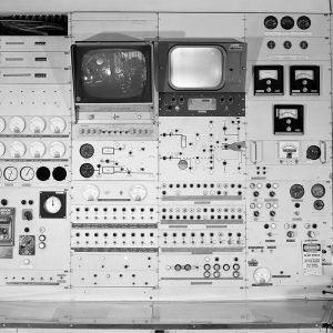 Control panels for the PSL No. 1 test chamber during testing of a Pratt & Whitney RL-10 rocket engine.
