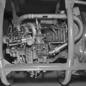 Instrumentation on a 15,000-pound thrust Pratt & Whitney RL-10 engine installed in PSL No. 1.