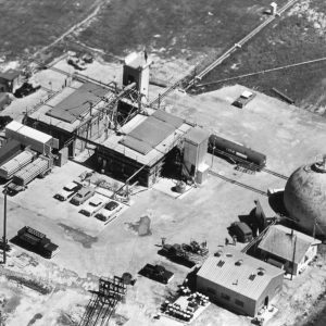Aerial of J Site with J-4 stand at rear of building