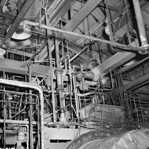 View of the piping above the vacuum chamber in the J-3 facility