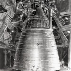 Large rocket engine with people in front.