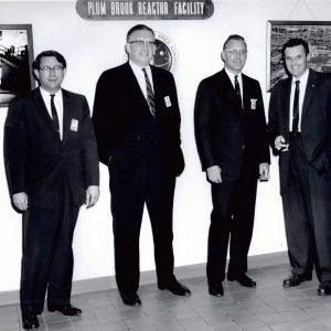 Left to right, Lewis Director Abe Silverstein, Congressman Charles Mosher, unknown visitor, and Plum Brook Director Alan Johnson tour Plum Brook (5/3/1963).