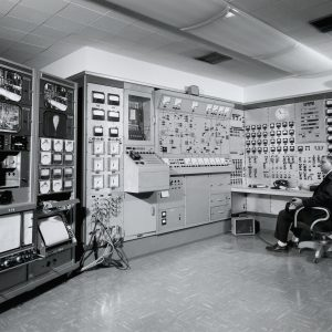 A test engineer monitors the A Site control panel at the H Control Building