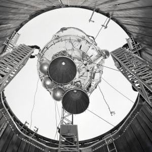 A 100 foot crane is used to lower a Centaur 6A into the SPC No. 1.