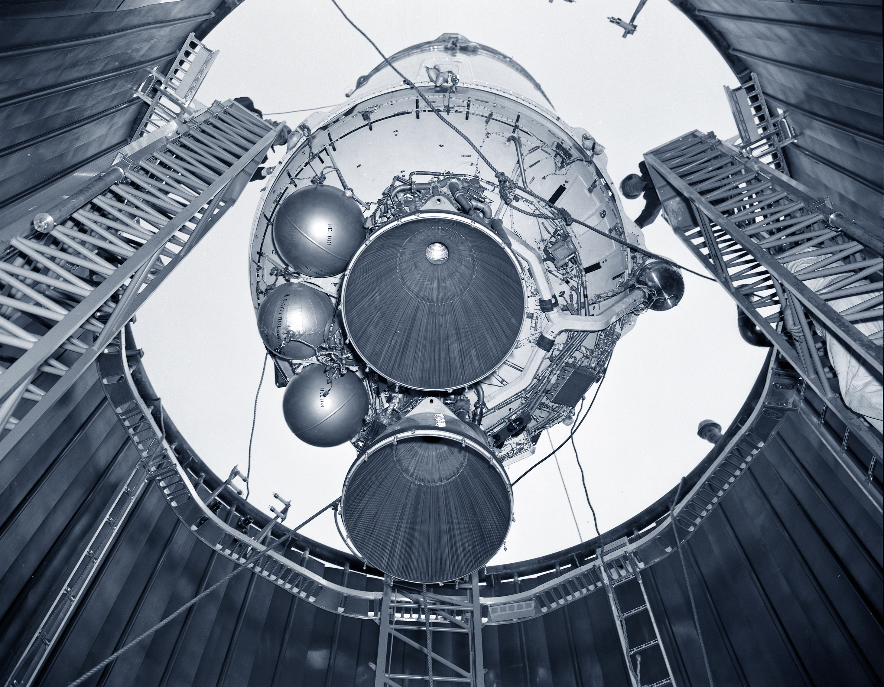 View from below as Centaur is lowered into chamber.