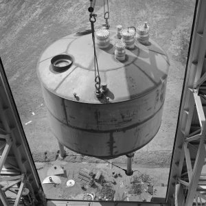 View from above as crane lifts test article into B-3