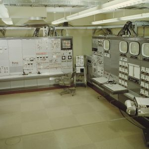 Control panels for the B-1 test stand inside the B Control and Data Building