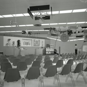 Empty chairs with display.