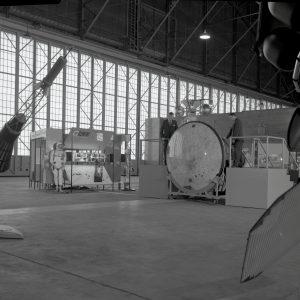 Space exhibits in hangar.