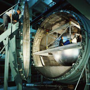 Propellant tank in K Site chamber with door open