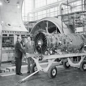 A Pratt & Whitney TF30 turbofan engine about to be installed in PSL No. 1.