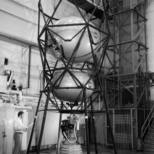 Research Propulsion Module standing vertically in high bay