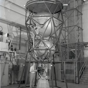 Cryogenic Storage Test Vehicle set up vertically in high bay