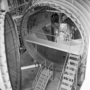 Test article in vaccum chamber with door open
