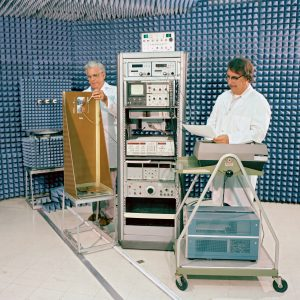 Researchers in antenna lab
