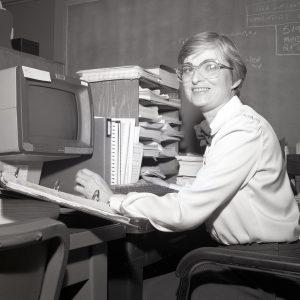 McBride at desk.