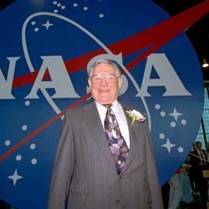 Modarelli with NASA logo.