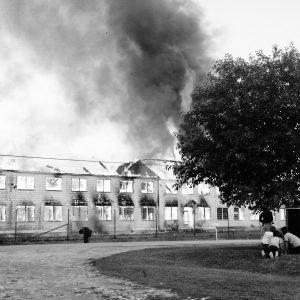 Burning dormitory