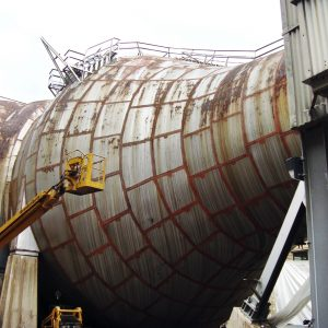 Throat section of tunnel with paint removed.