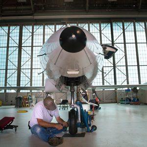 Inside the NASA Glenn hangar