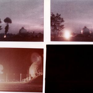 Four photographs of fiery reaction from spill test