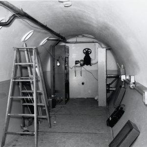 Interior of tubular tank with ladder inside
