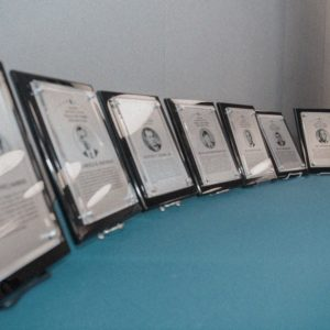 Plaques on table.