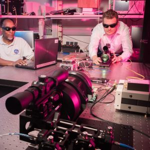Quantum Communications Laboratory free space transmitter receiver demonstration.