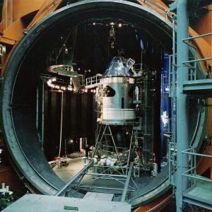 Apollo capsule in vacuum chamber.