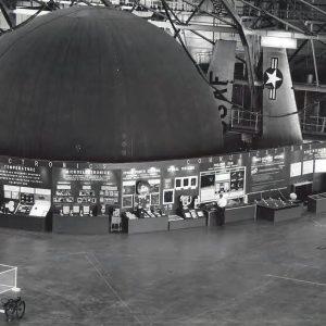 Exhibits in hangar.