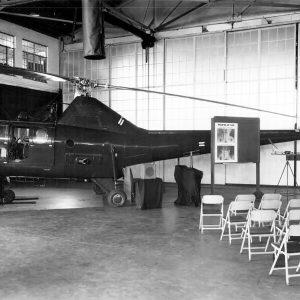 Helicopter in hangar.