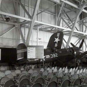 Empty chairs in hangar.