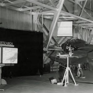 Aircraft in hangar.