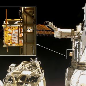 Views of MISSE-5 mounted on the ISS P6 Truss during one of the STS-114 missions Extravehicular Activities (EVAs).
