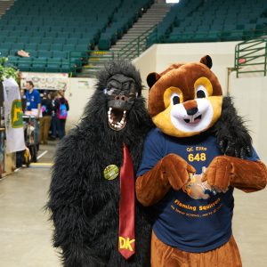 Two Mascots, one from team 6027, and another from team 648.