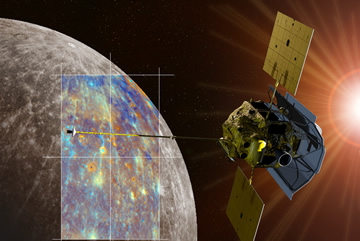 Artist rendering of Messenger spacecraft orbiting Mercury.