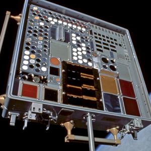 Oblique view of MISSE 2 Tray 2 attached to the ISS airlock after 5.6 months of wake space exposure.