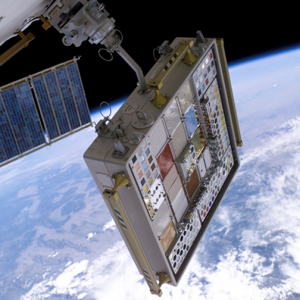 MISSE 3 Tray 1 following deployment on the outside of ISS on August 3, 2006.