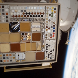 Image of MISSE 3 Tray 1 taken on July 23, 2007 after 11.7 months of ram space exposure.