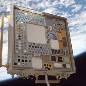 Image of MISSE 3 Tray 2 taken on July 23, 2007 after 11.7 months of wake space exposure.