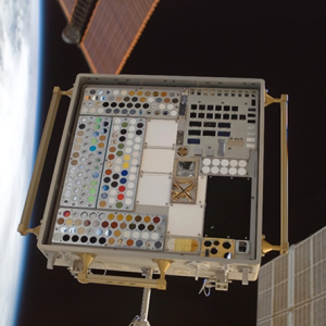 Image of MISSE 4 Tray 1 taken on July 23, 2007 after 11.7 months of ram space exposure.