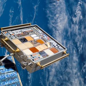 Image of MISSE 3 Tray 1 taken on August 13, 2007 after 1 year of ram space exposure and shortly before retrieval.
