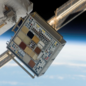 Image of MISSE-3 Tray 1 taken on December 18, 2006 after 4.5 months of ram space exposure.