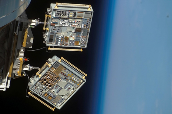 View of the ram side of MISSE 6A and MISSE 6B (Tray 1) on the European Columbus Laboratory as imaged during the flyaround of STS-123 Space Shuttle Endeavor.